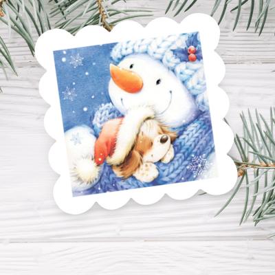 """Мыло с картинкой """"Добрый снеговик"""""""